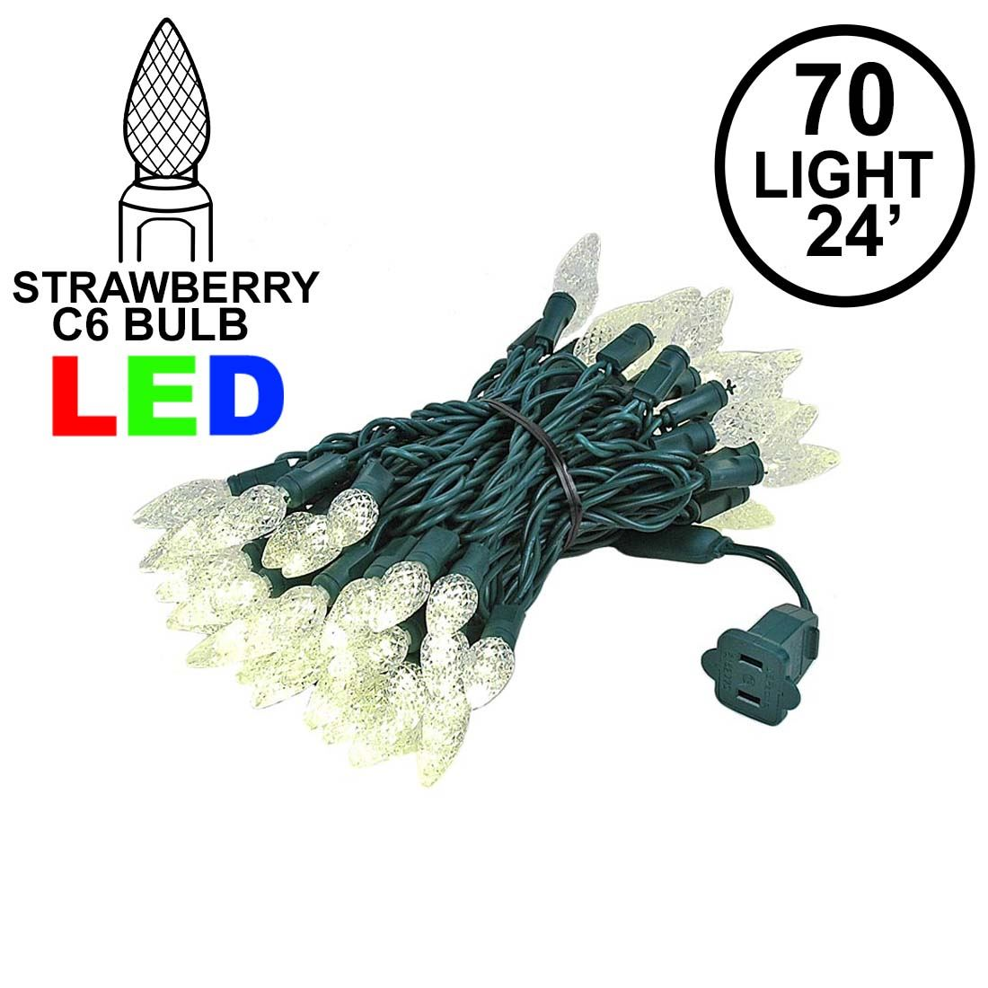 Picture of Warm White 70 LED C6 Strawberry Mini Lights Commercial Grade on Green Wire