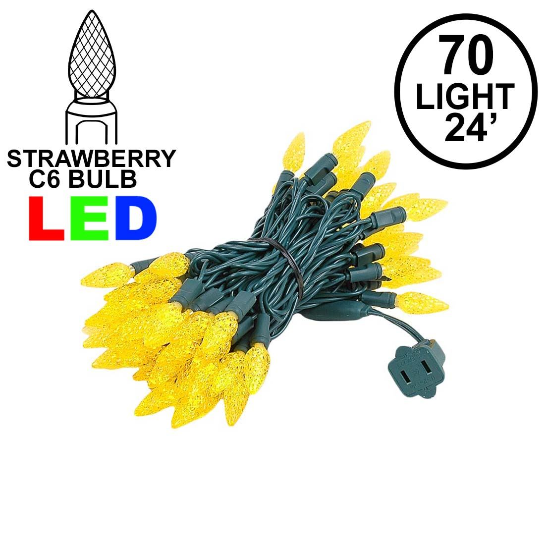 Picture of Yellow 70 LED C6 Strawberry Mini Lights Commercial Grade on Green Wire