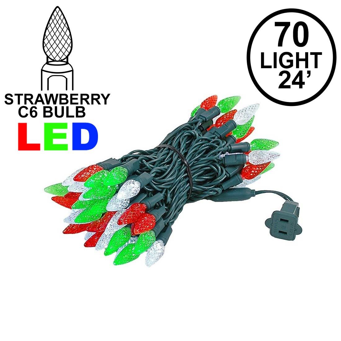 Picture of Red Green & White 70 LED C6 Strawberry Mini Lights Commercial Grade Green Wire