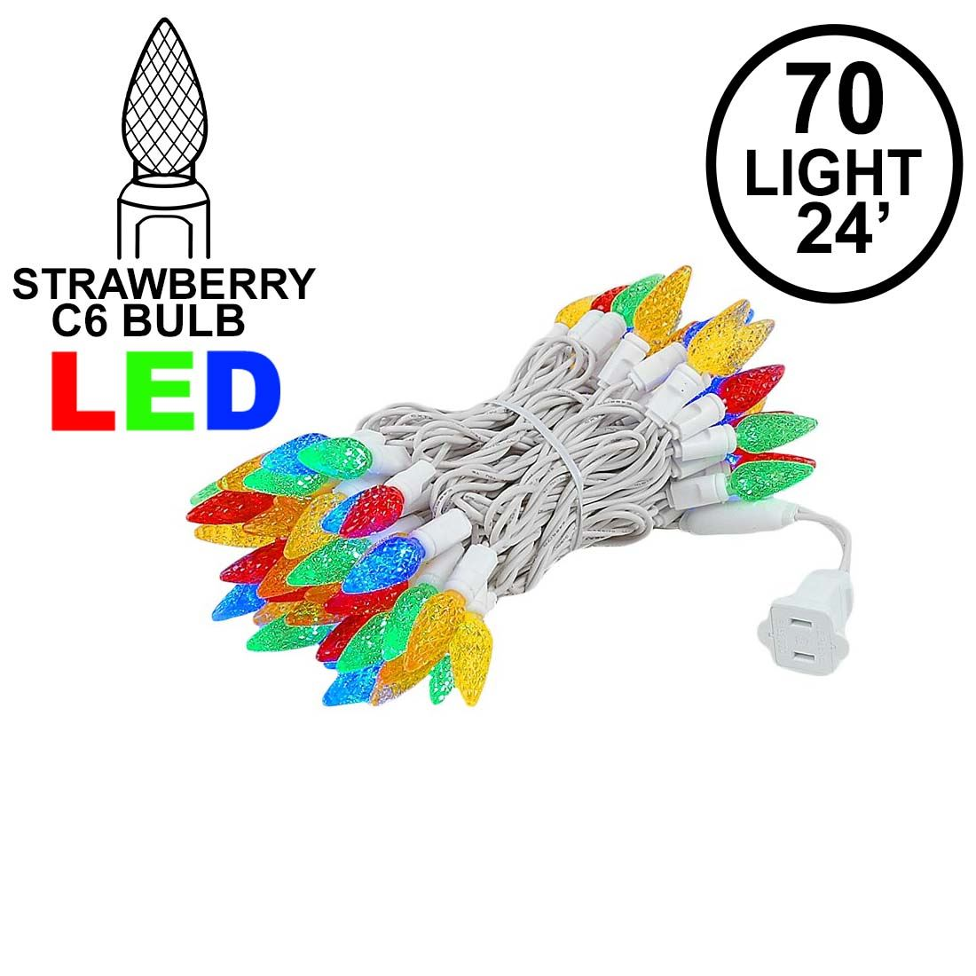 Picture of Multi 70 LED C6 Strawberry Mini Lights Commercial Grade on White Wire