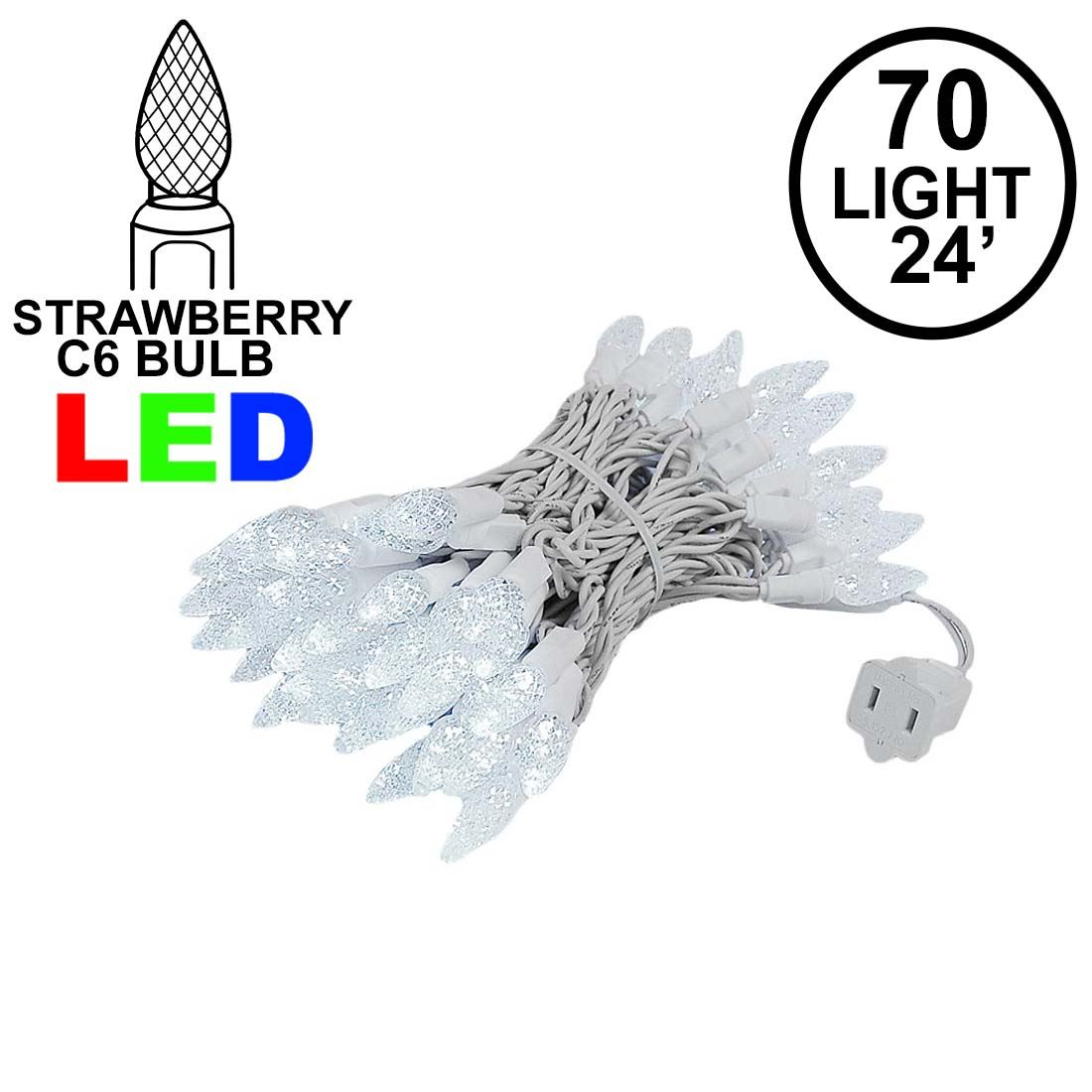Picture of Pure White 70 LED C6 Strawberry Mini Lights Commercial Grade