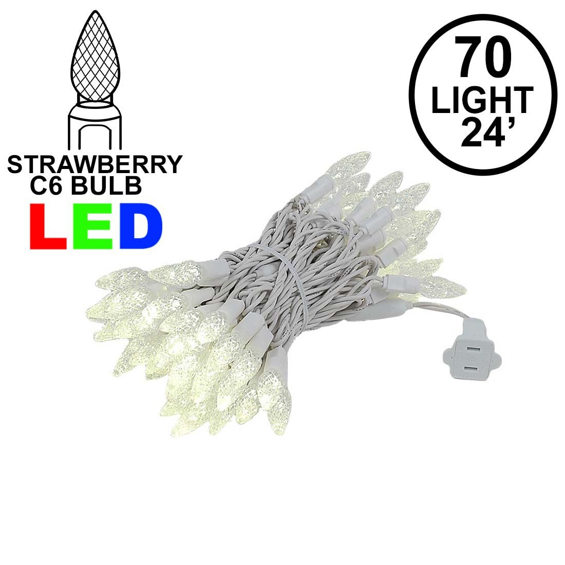 Picture of Warm White 70 LED C6 Strawberry Mini Lights Commercial Grade