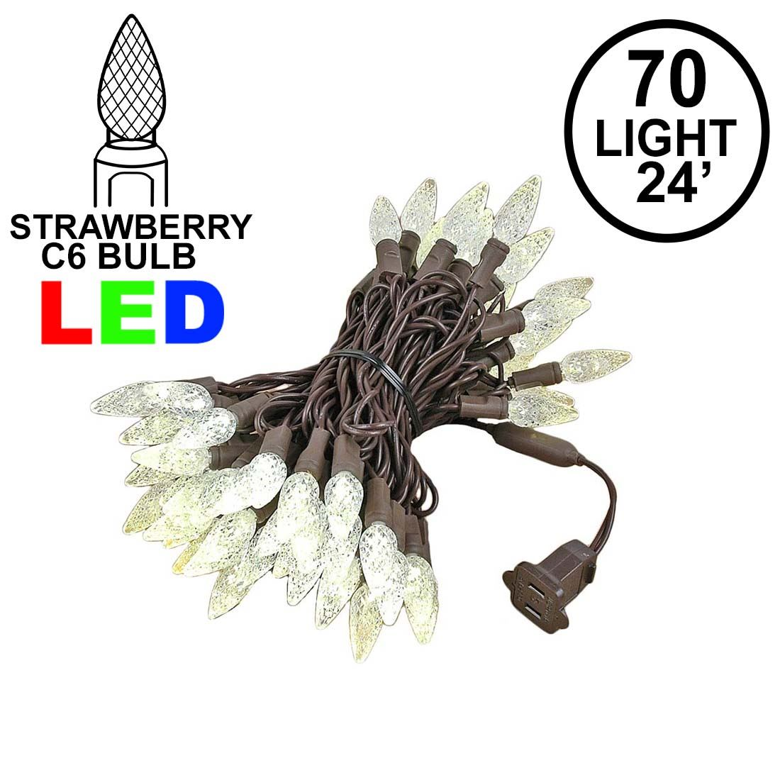 Picture of Warm White 70 LED C6 Strawberry Mini Lights Commercial Grade Brown Wire on Brown Wire