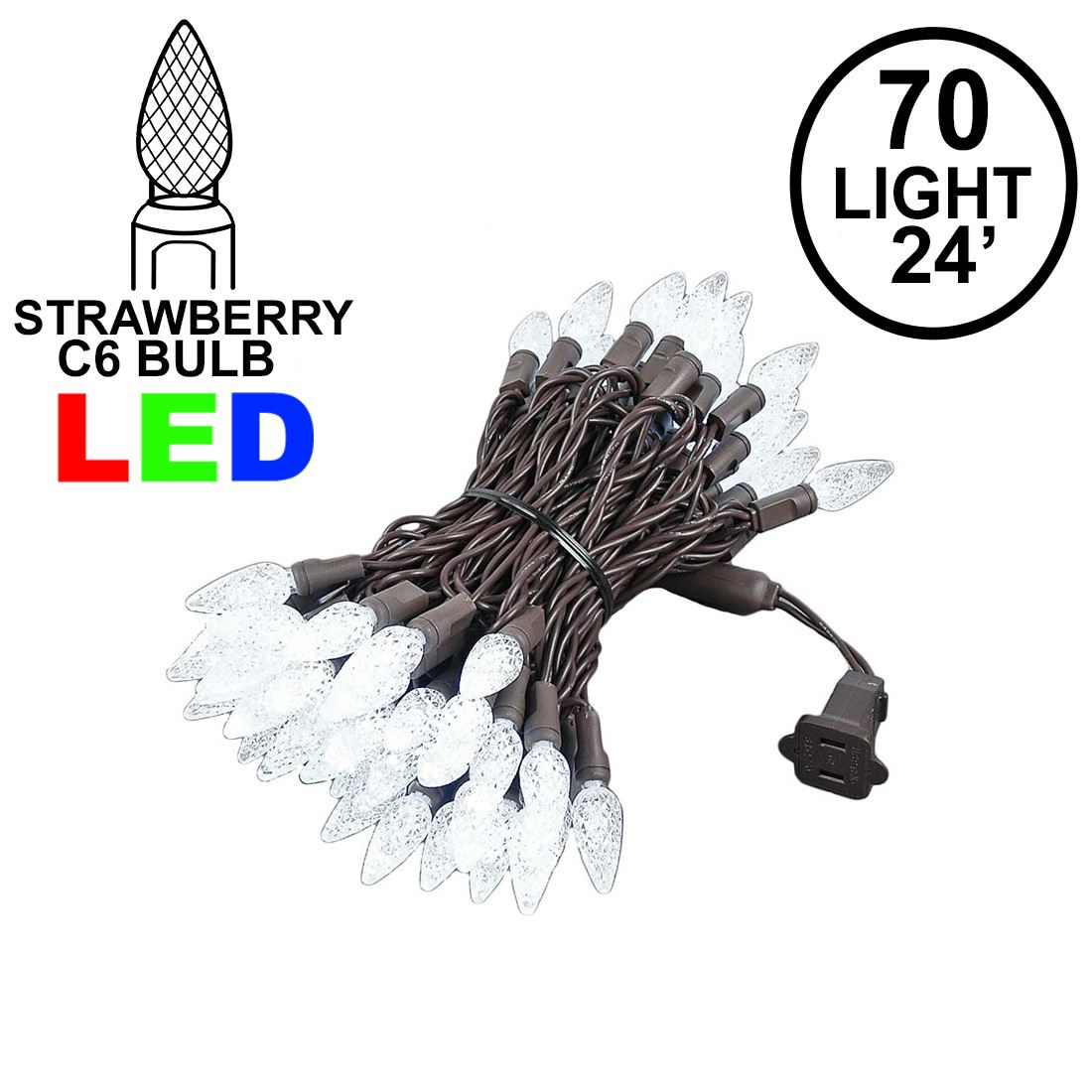 Picture of Pure White 70 LED C6 Strawberry Mini Lights Commercial Grade Brown Wire