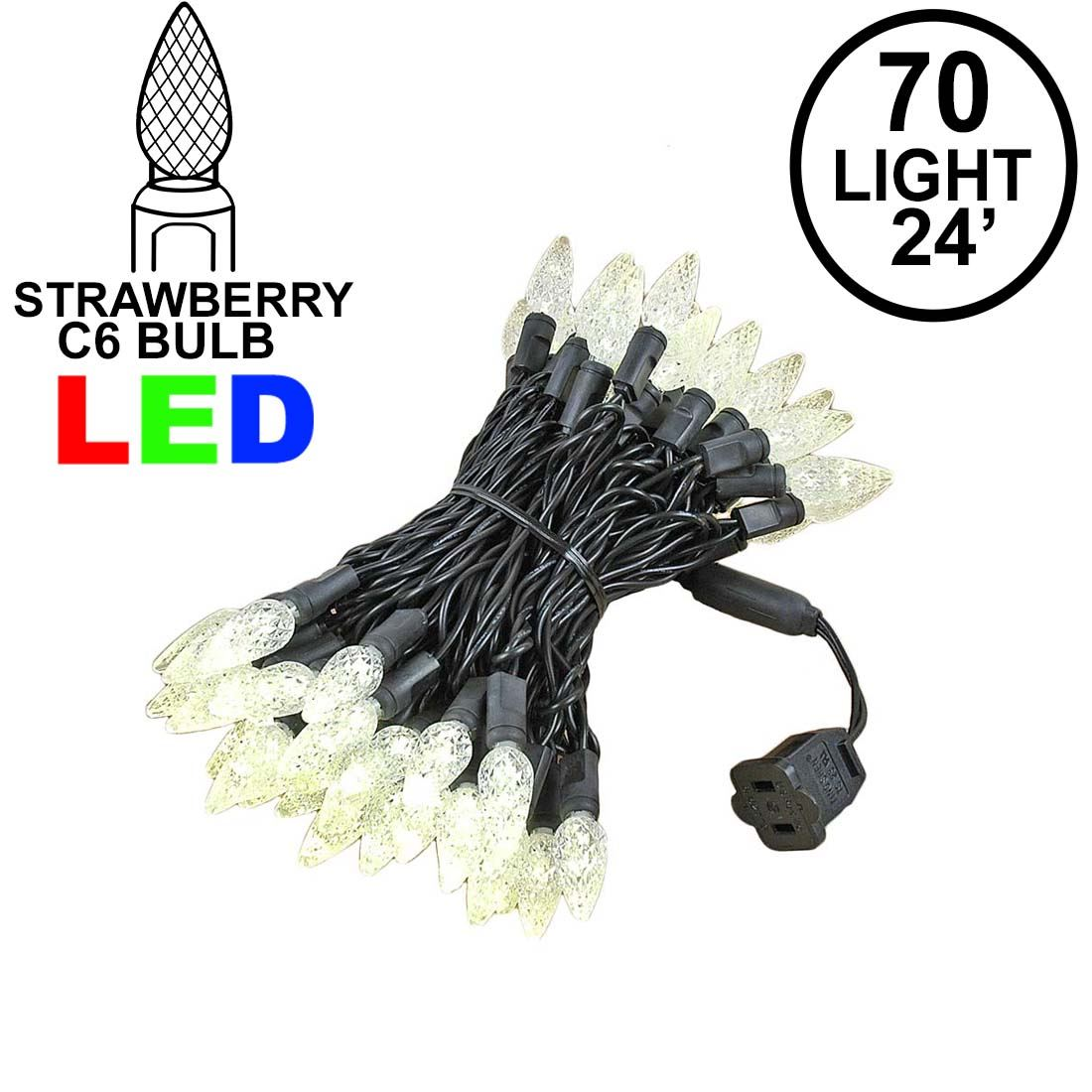 Picture of Warm White 70 LED C6 Strawberry Mini Lights Commercial Grade Black Wire
