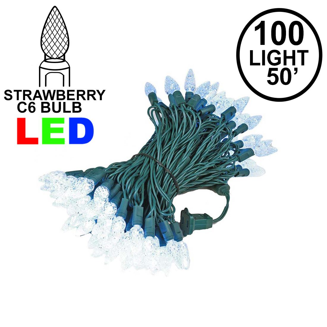 Picture of Pure White 100 LED C6 Strawberry Mini Lights Commercial Grade Green Wire