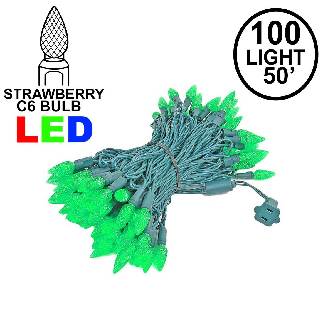 Picture of Green 100 LED C6 Strawberry Mini Lights Commercial Grade Green Wire