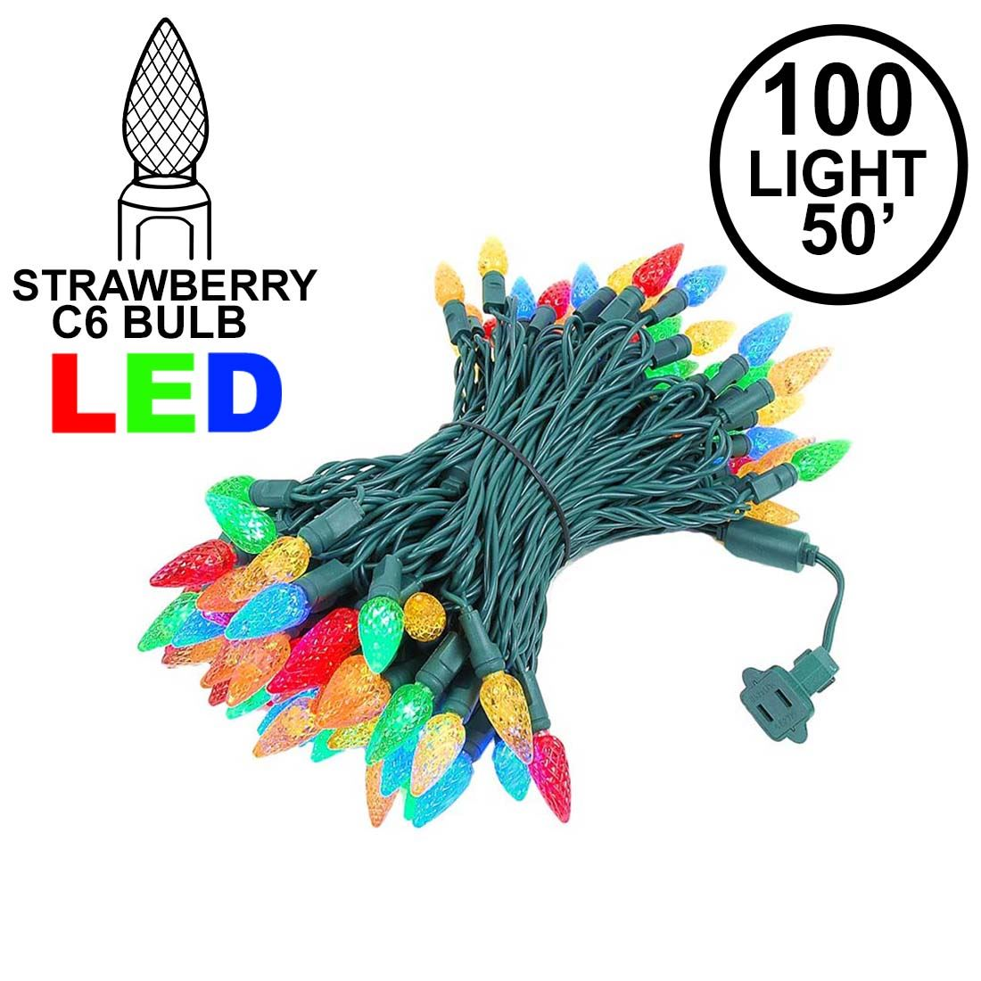 Picture of Multi 100 LED C6 Strawberry Mini Lights Commercial Grade