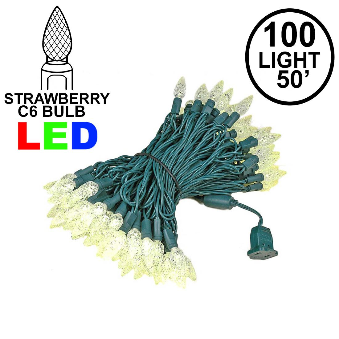 Picture of Warm White 100 LED C6 Strawberry Mini Lights Commercial Grade Green Wire **ON SALE**