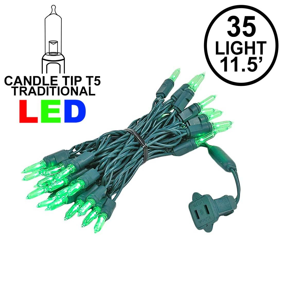 Picture of 35 Light Traditional T5 Green LED Mini Lights Green Wire