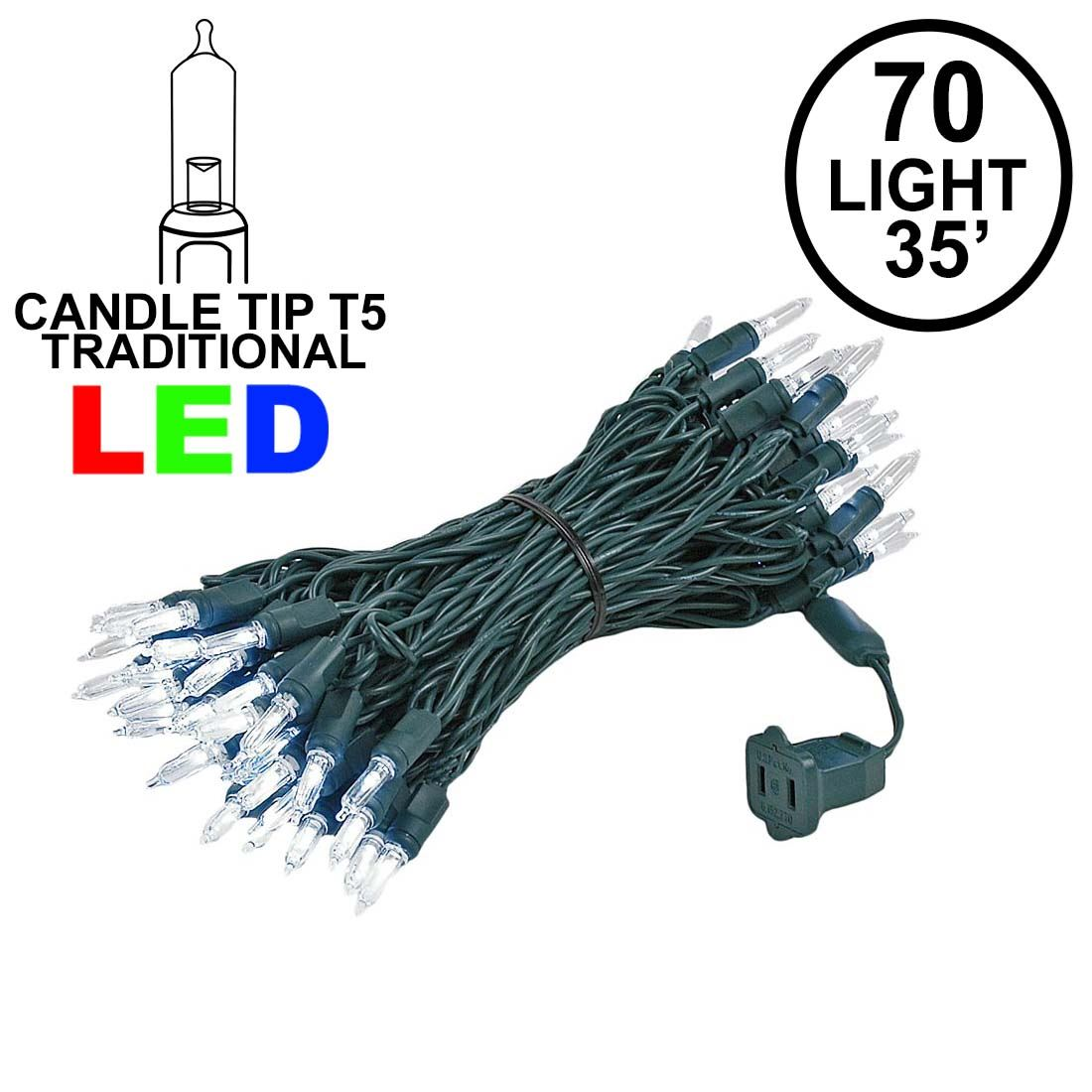 Picture of 70 Light Traditional T5 Pure White LED Mini Lights Green Wire