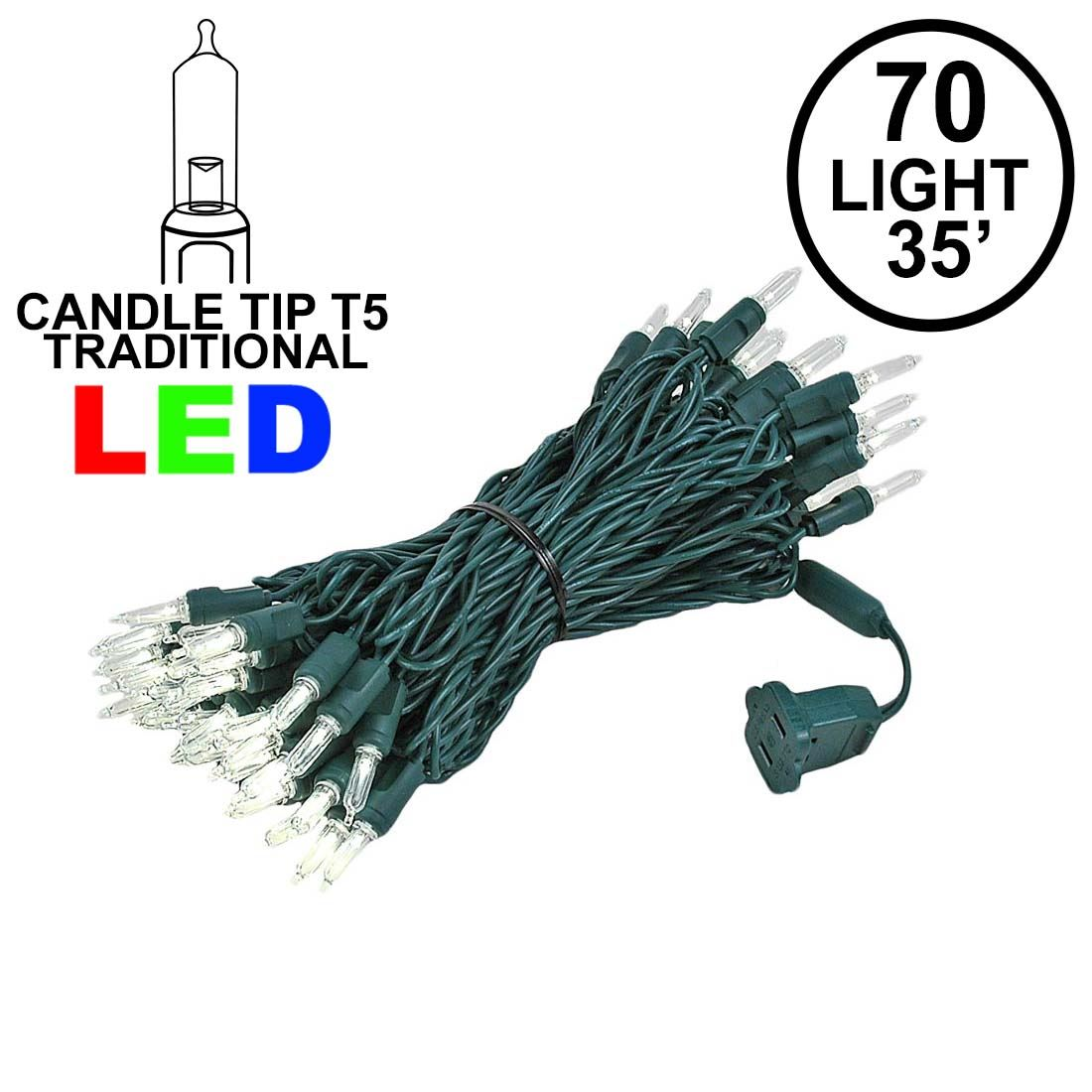 Picture of 70 Light Traditional T5 Warm White LED Mini Lights Green Wire