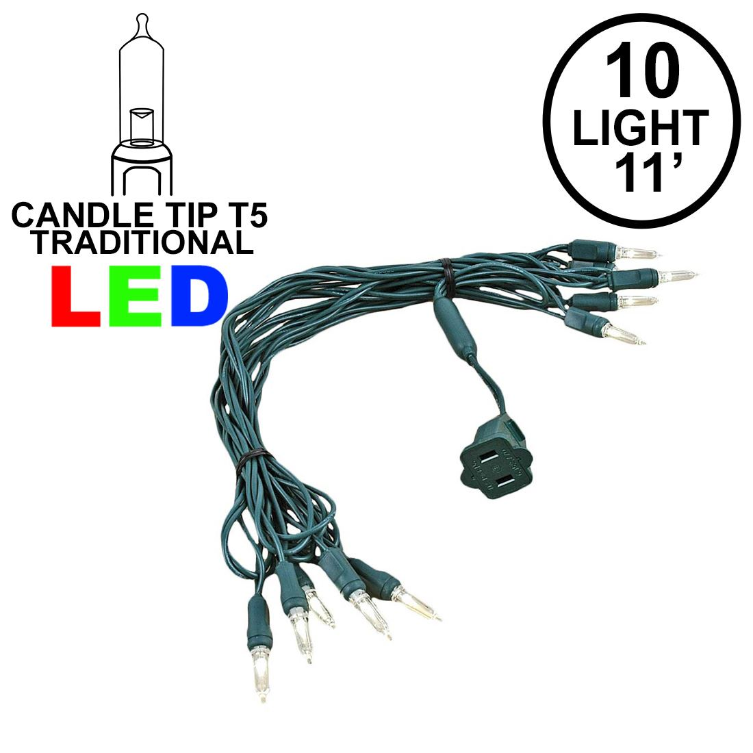 Picture of 10 Light Traditional T5 Warm White LED Mini Lights Gren Wire