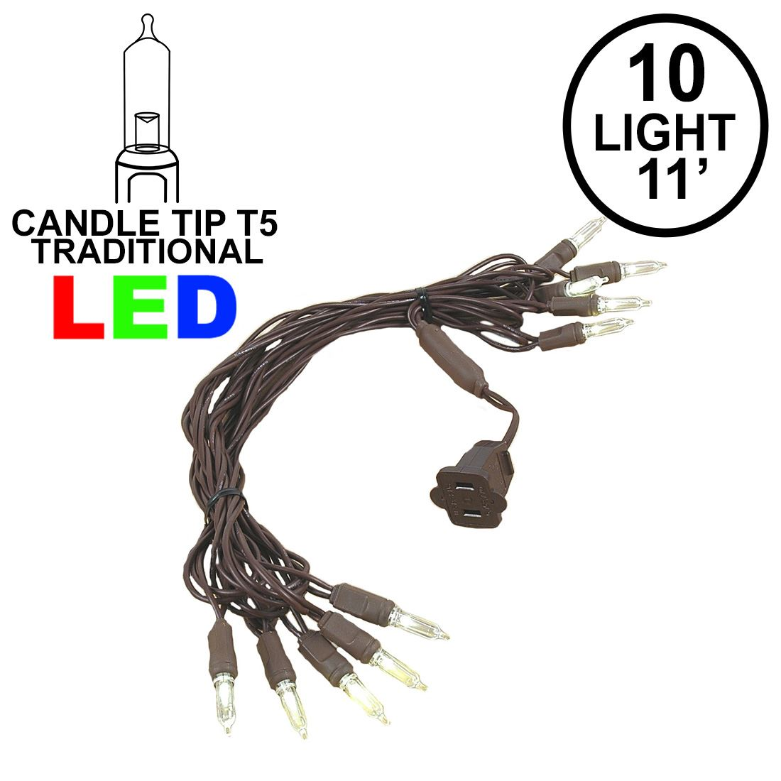 Picture of 10 Light Traditional T5 Warm White LED Mini Lights Brown Wire