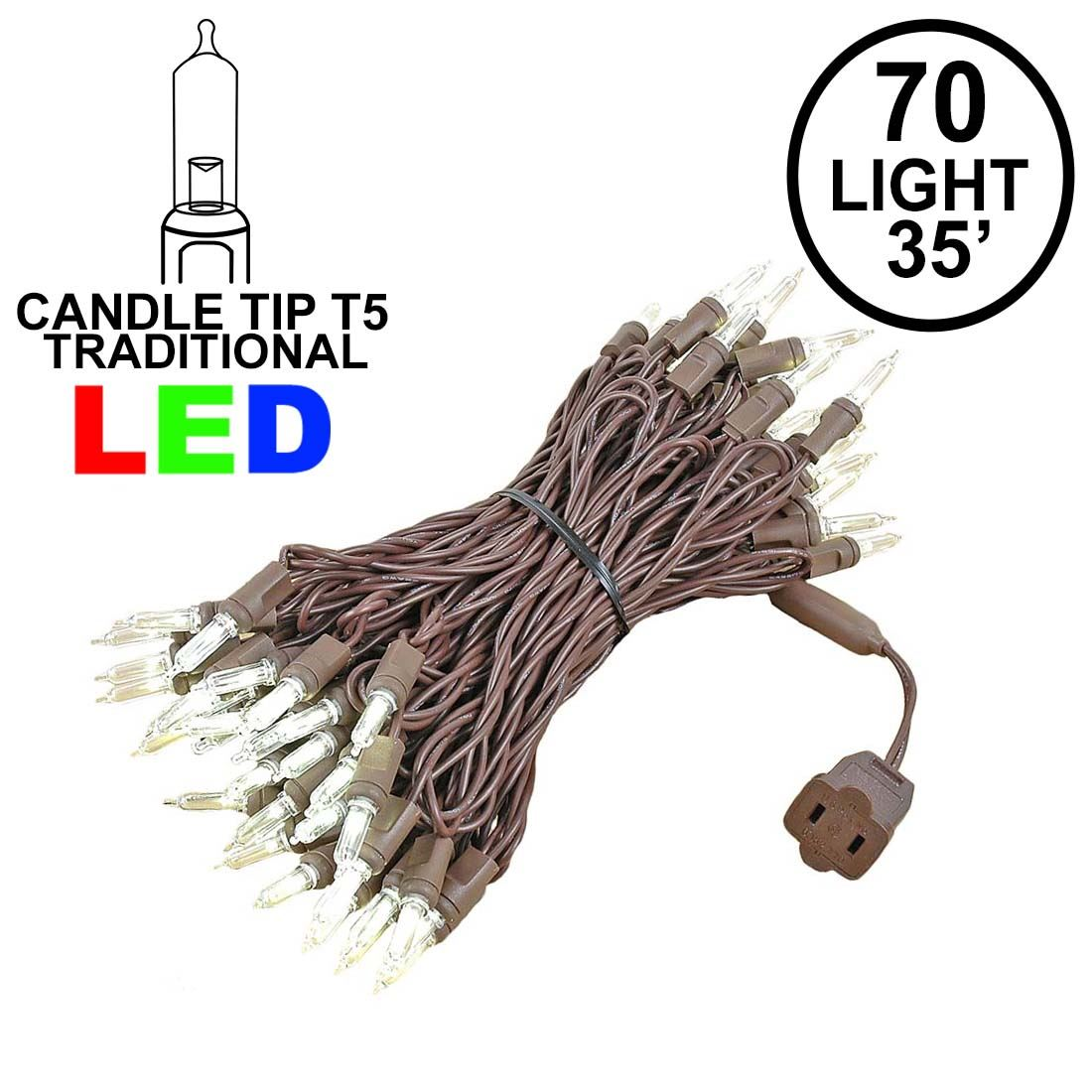 Picture of 70 Light Traditional T5 Warm White LED Mini Lights Brown Wire