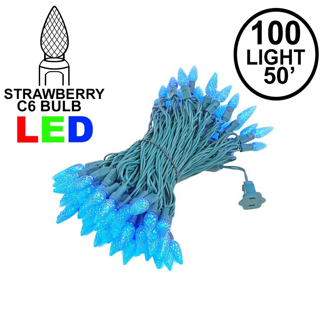 Picture of Blue 100 LED C6 Strawberry Mini Lights Commercial Grade Green Wire