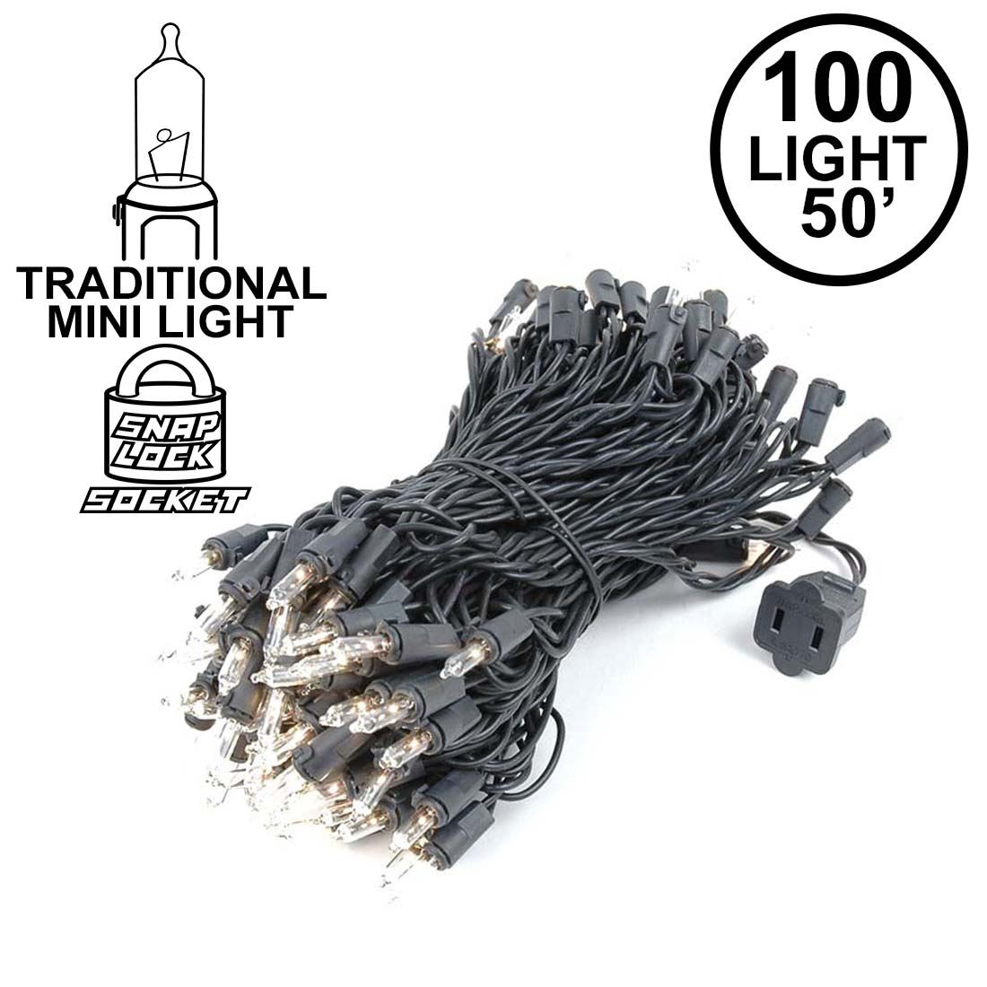 Black Wire Clear Christmas Lights - WIRE Center •