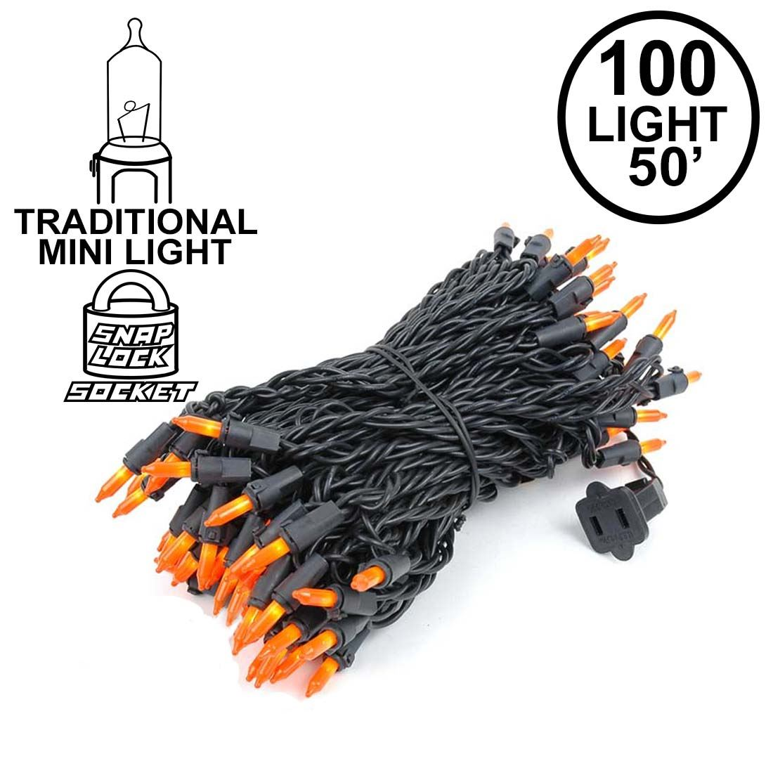 Picture of Frosted Orange Mini Lights 100 Light 50 Feet Long on Black Wire