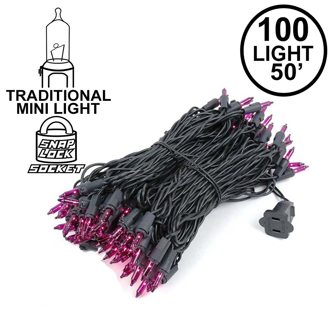 Picture of Black Wire Purple Christmas Mini Lights 100 Light 50 Feet Long