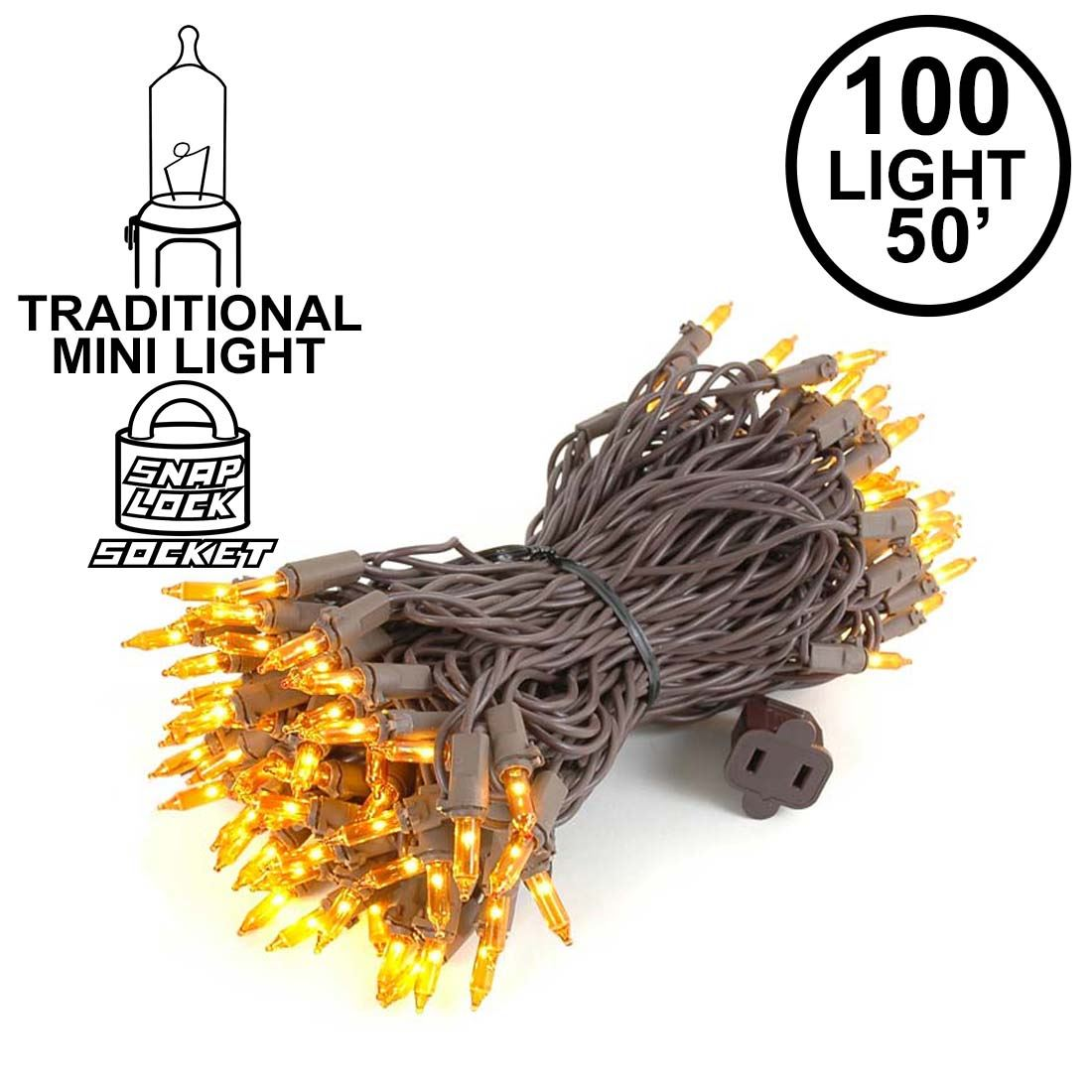 Picture of Amber/Orange Christmas Mini Lights 100 Light 50 Feet Long on Brown Wire
