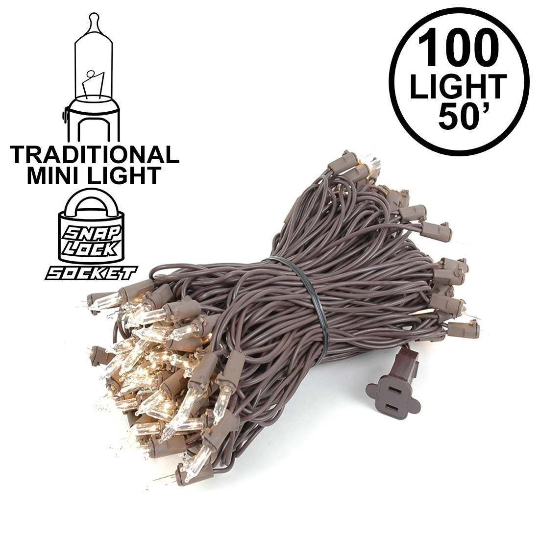 Picture of Clear Christmas Mini Lights 100 Light 50 Feet Long on Brown Wire