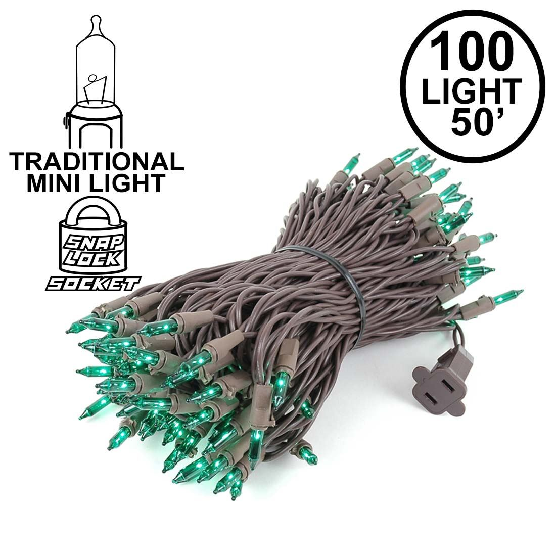 Picture of Green Christmas Mini Lights 100 Light 50 Feet Long on Brown Wire