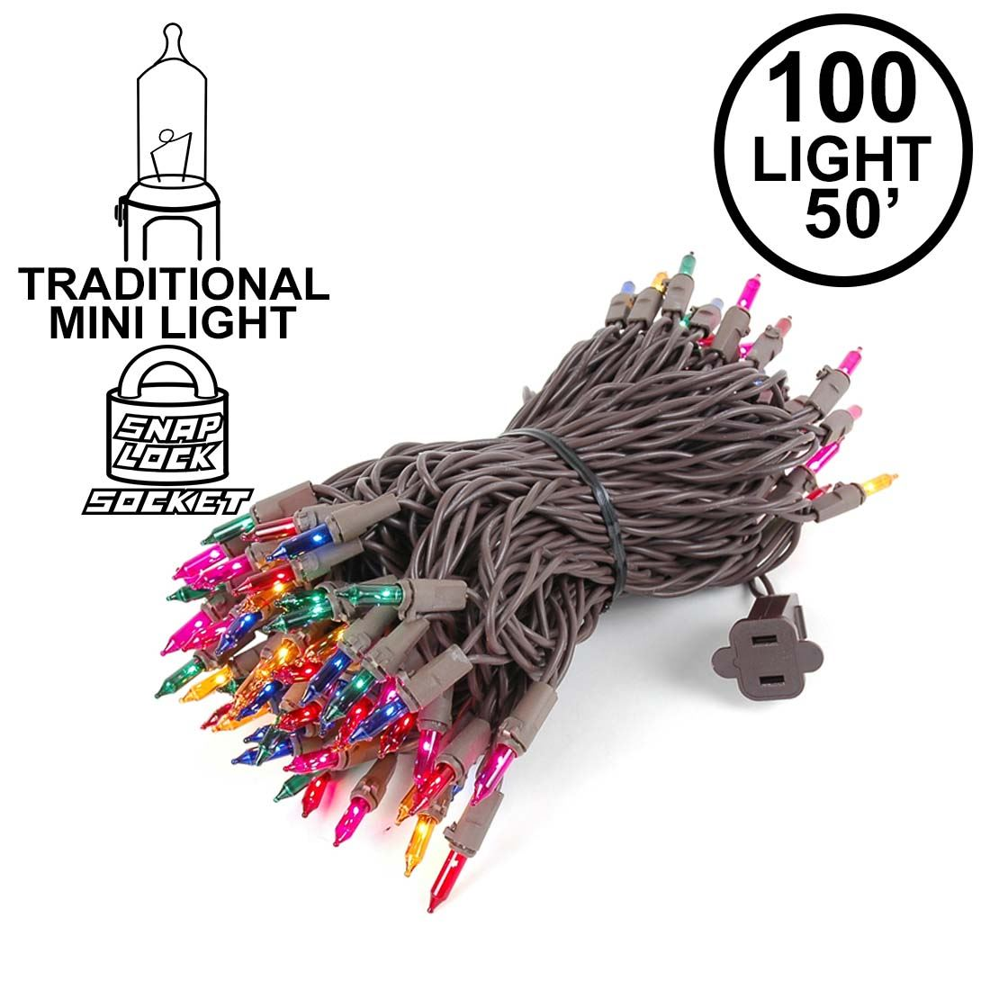 Picture of Multi Christmas Mini Lights 100 Light 50 Feet Long on Brown Wire