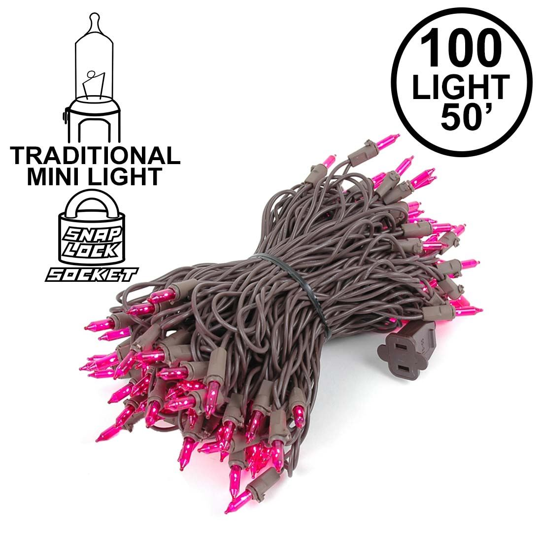 Picture of Pink Christmas Mini Lights 100 Light 50 Feet Long on Brown Wire
