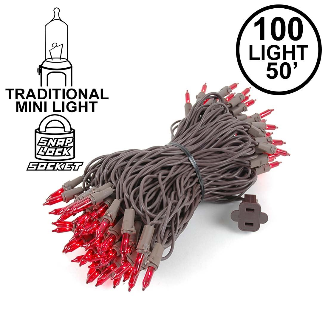 Picture of Red Christmas Mini Lights 100 Light 50 Feet Long on Brown Wire