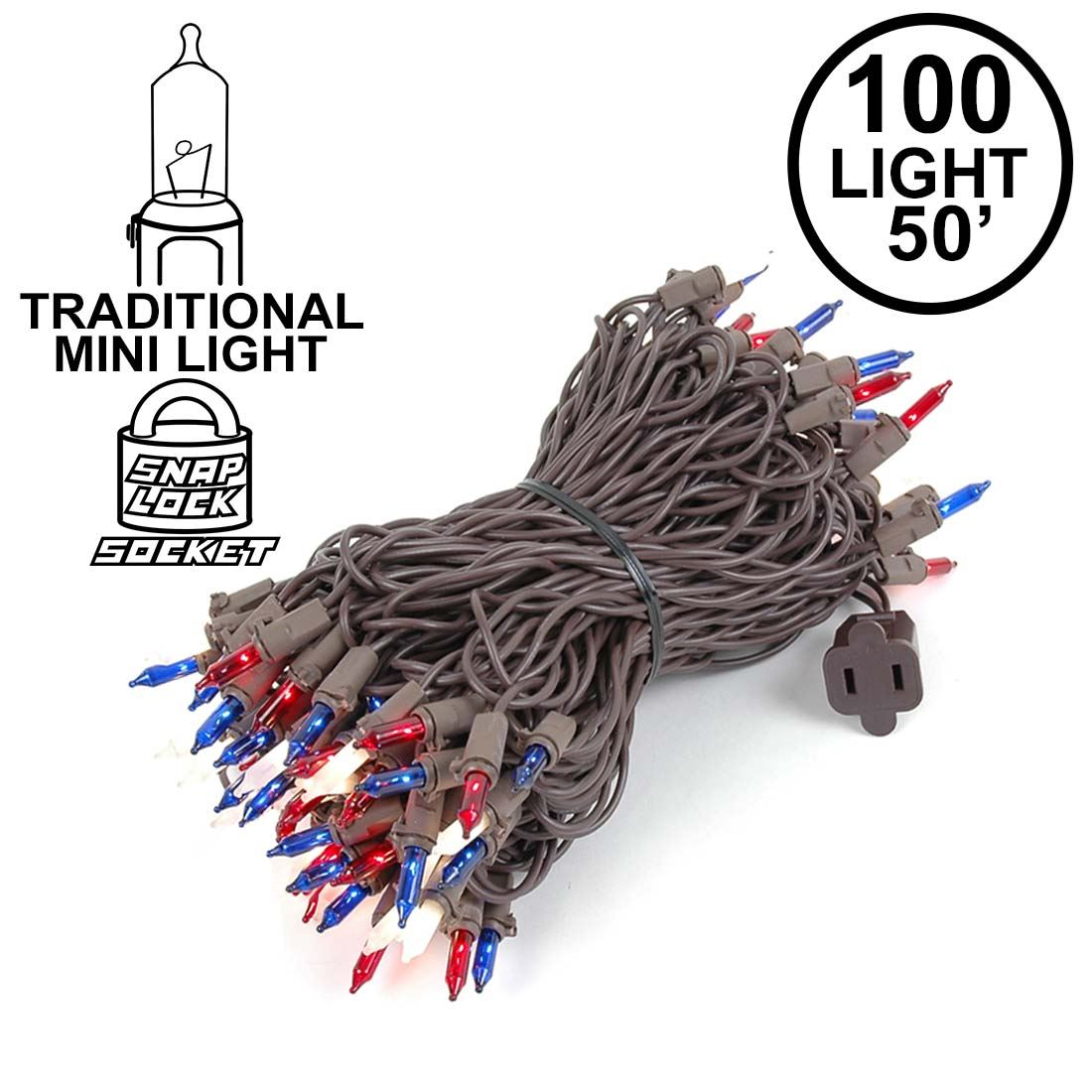 Picture of Red/White/Blue Christmas Mini Lights 100 Light 50 Feet Long on Brown Wire