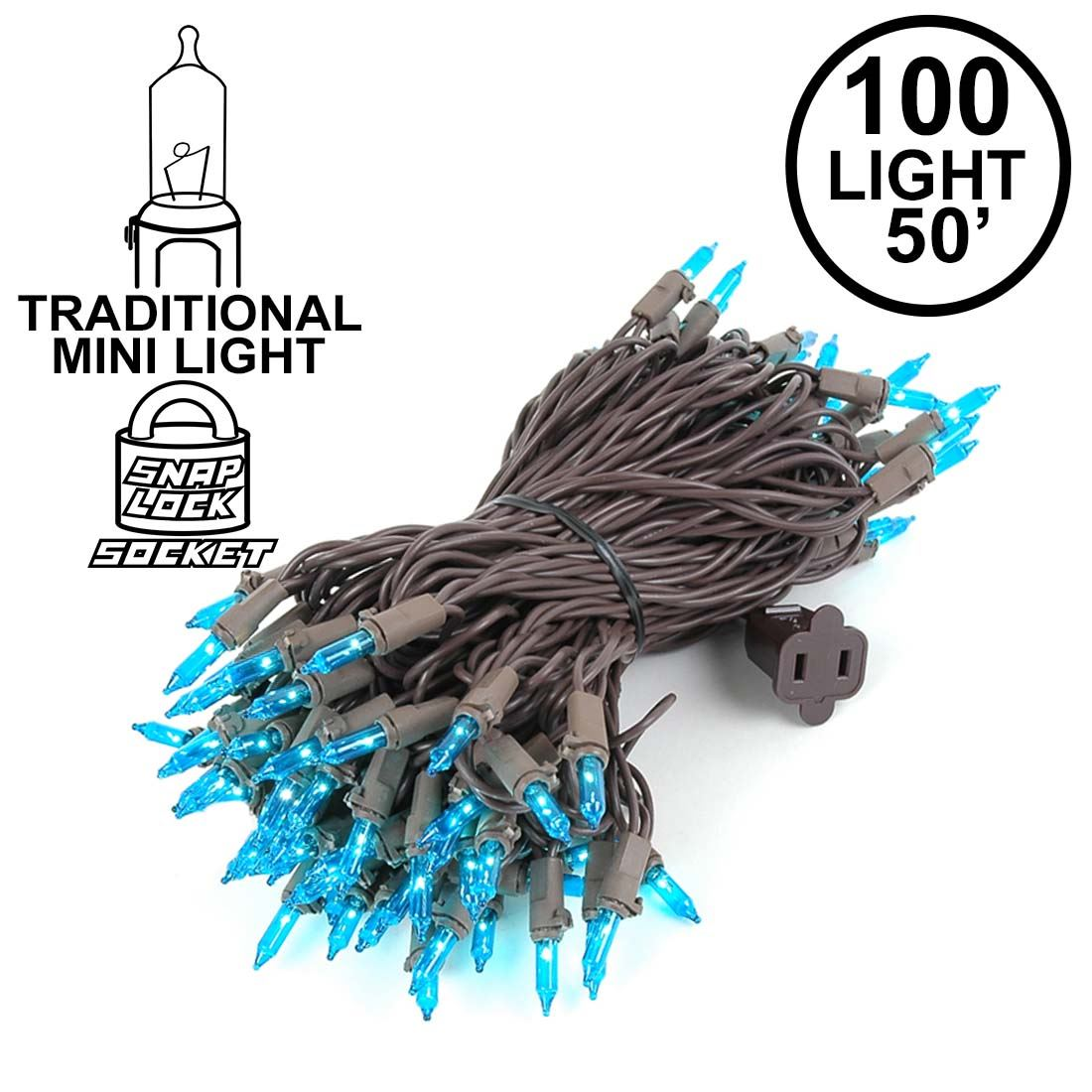 Picture of Teal Christmas Mini Lights 100 Light 50 Feet Long on Brown Wire
