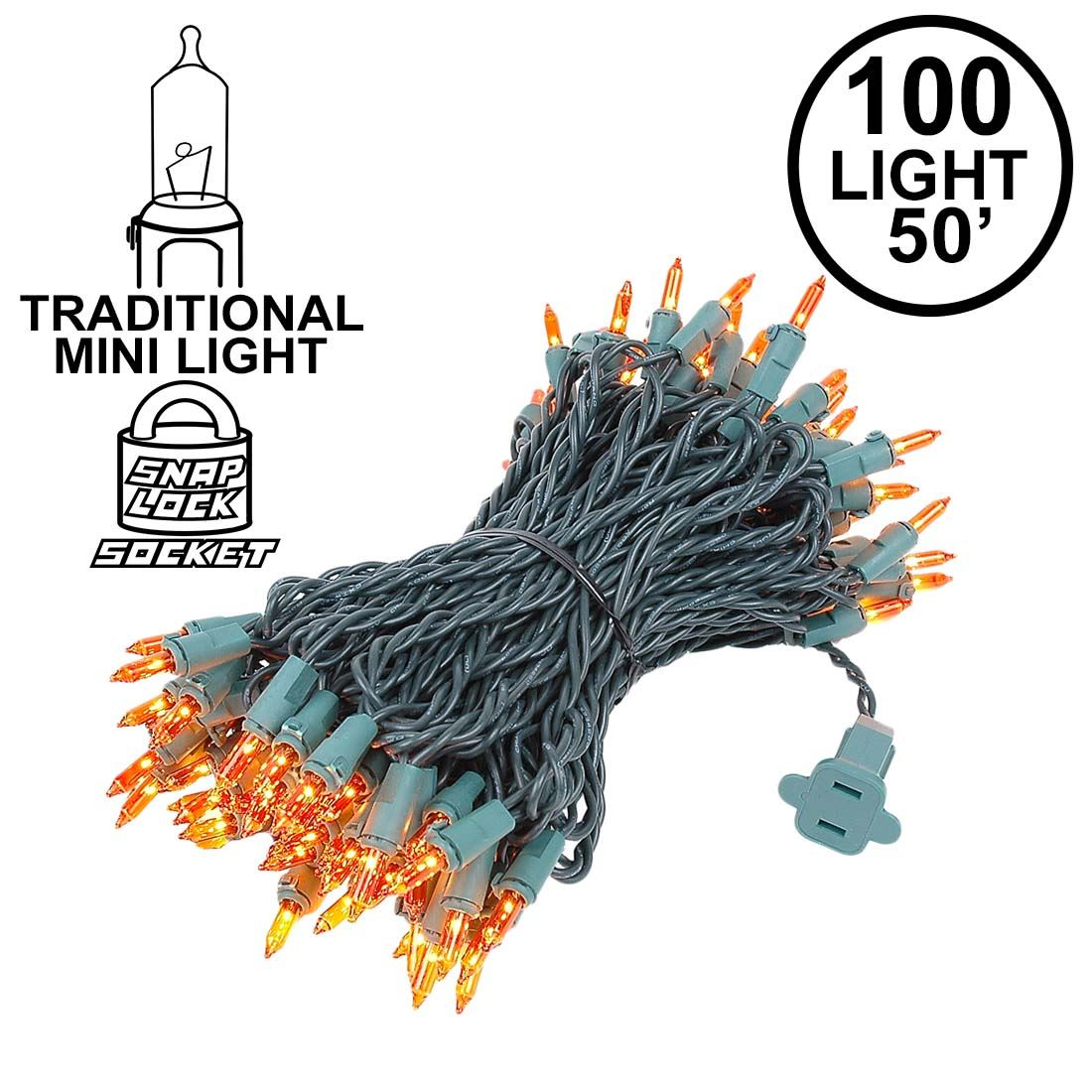 Picture of Amber/Orange Christmas Mini Lights 100 Light 50 Feet Long on Green Wire