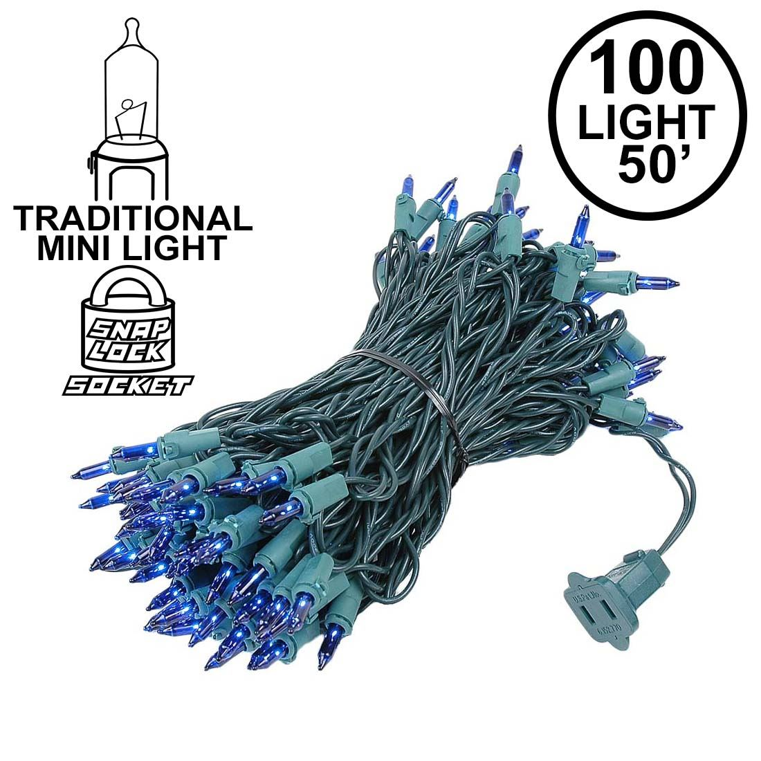 Picture of Blue Christmas Mini Lights 100 Light 50 Feet Long