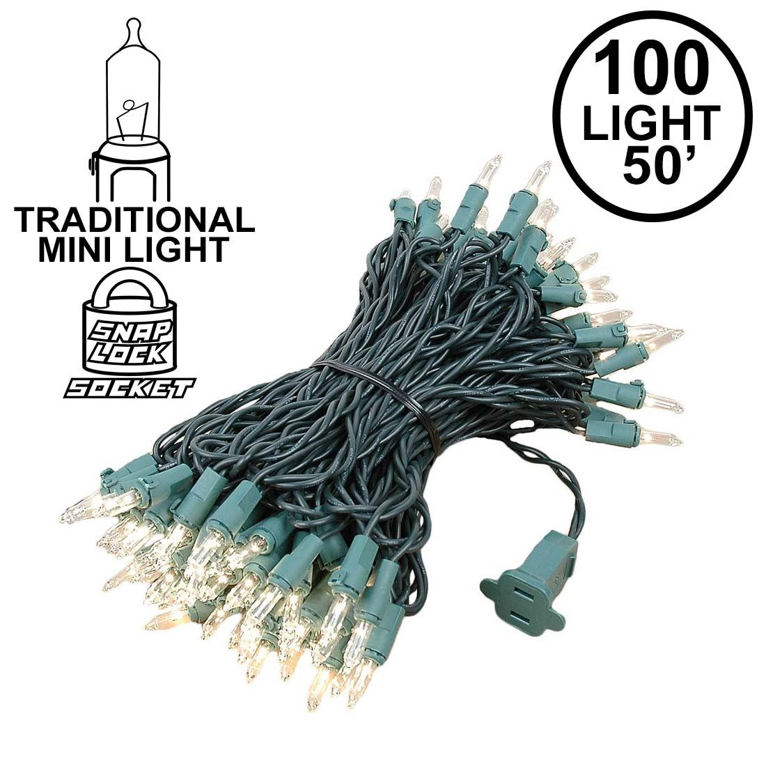 Picture of Clear Christmas Mini Lights 100 Light 50 Feet Long on Green Wire
