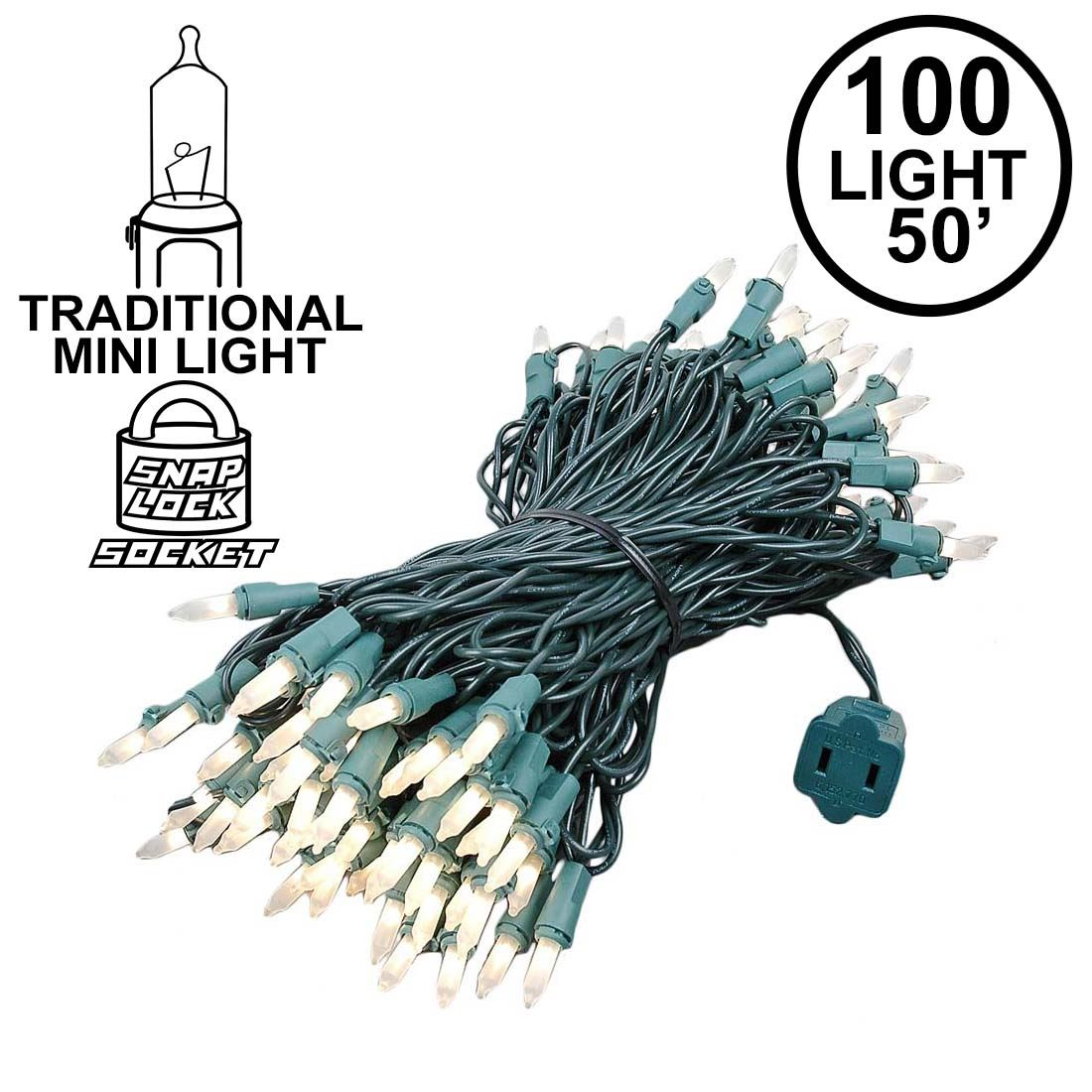 Picture of Frosted Christmas Mini Lights 100 Light 50 Feet Long on Green Wire