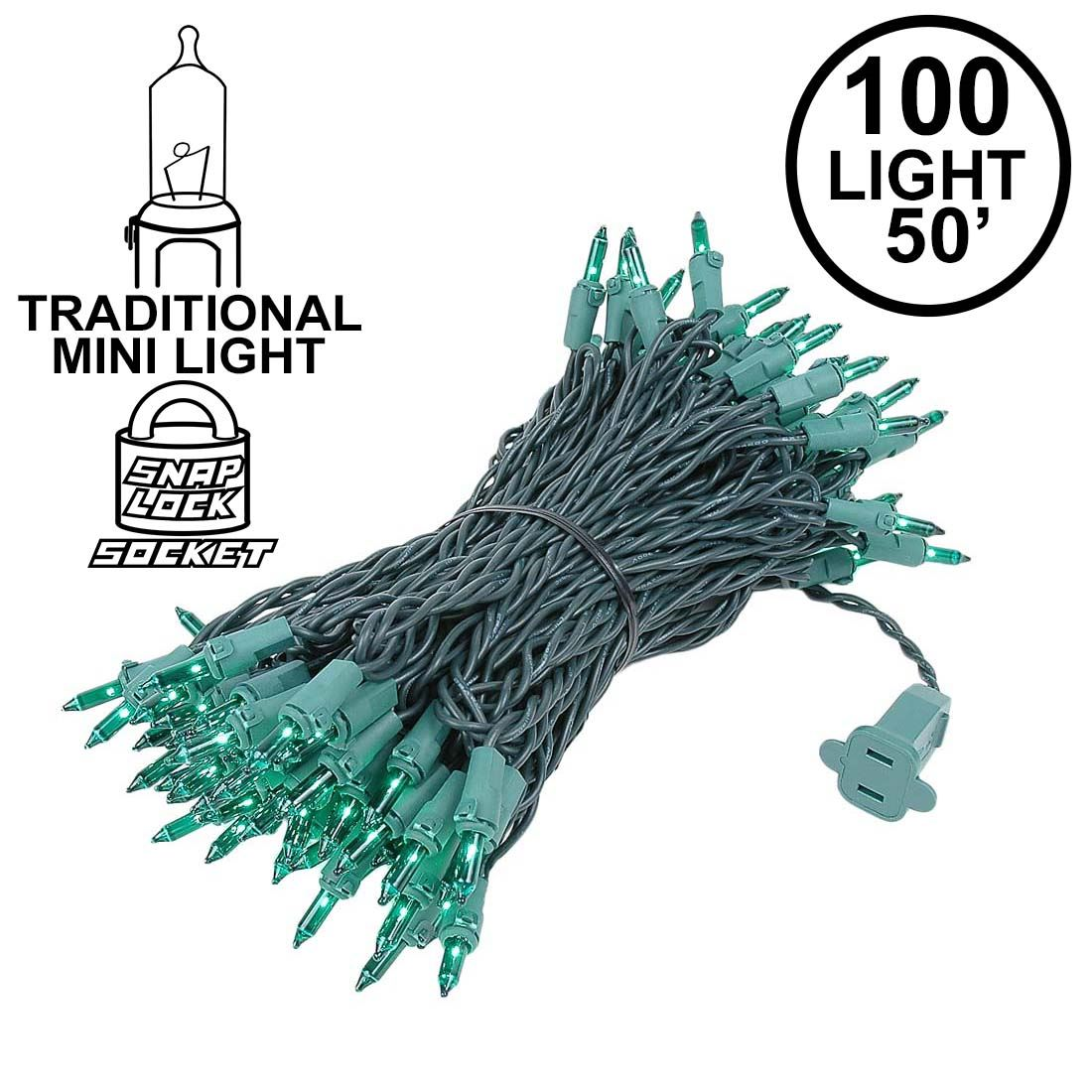 Picture of Green Christmas Mini Lights 100 Light 50 Feet Long on Green Wire