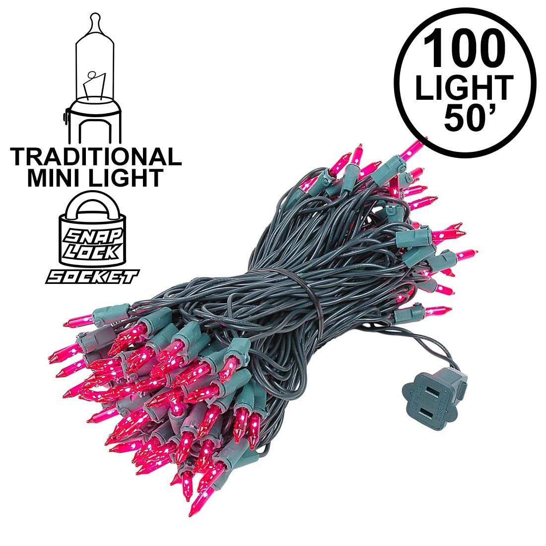 Picture of Pink Christmas Mini Lights 100 Light 50 Feet Long