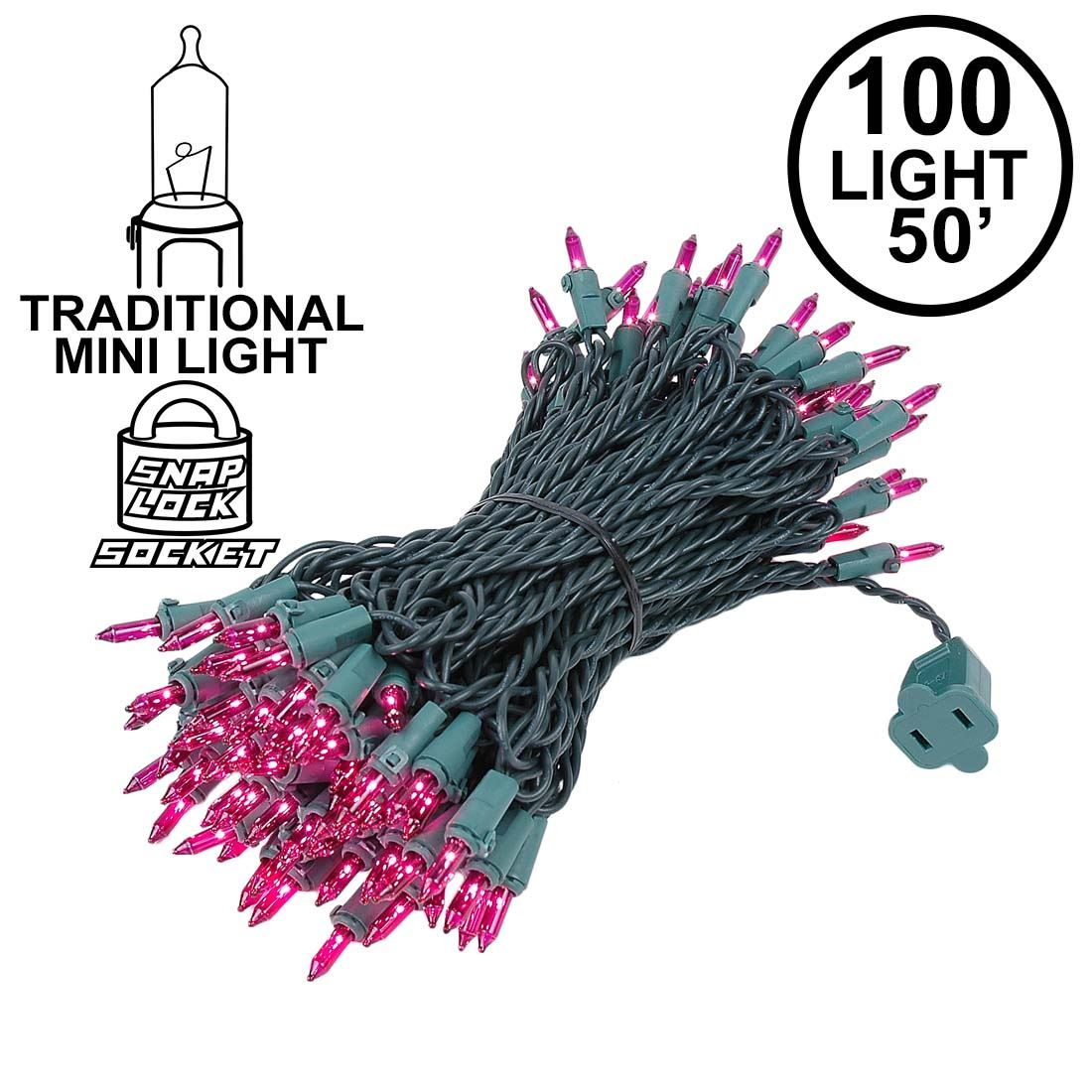 Picture of Purple Christmas Mini Lights 100 Light 50 Feet Long