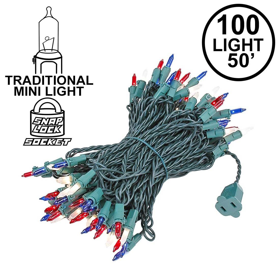 Picture of Red/White/Blue Christmas Mini Lights 100 Light 50 Feet Long