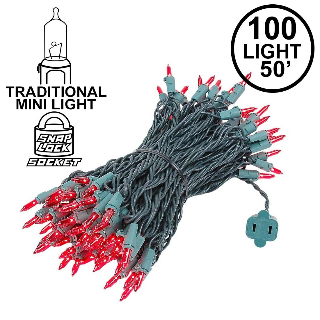 Picture of Red Christmas Mini Lights 100 Light 50 Feet Long on Green Wire