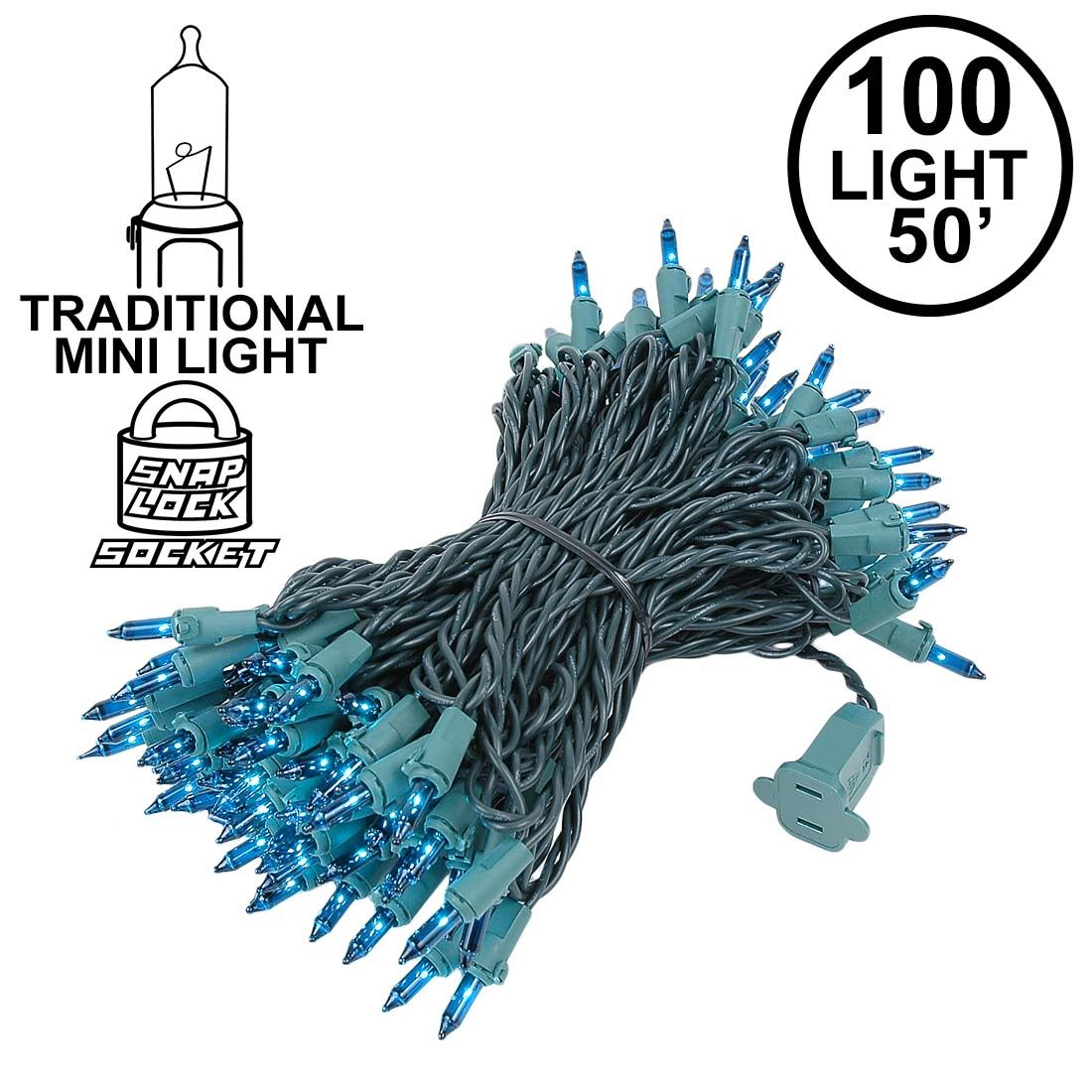 Picture of Teal Christmas Mini Lights 100 Light 50 Feet Long on Green Wire