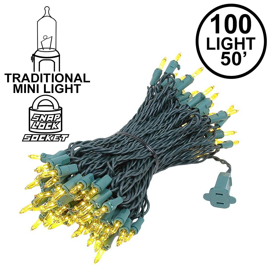Picture of Yellow Christmas Mini Lights 100 Light 50 Feet Long on Green Wire