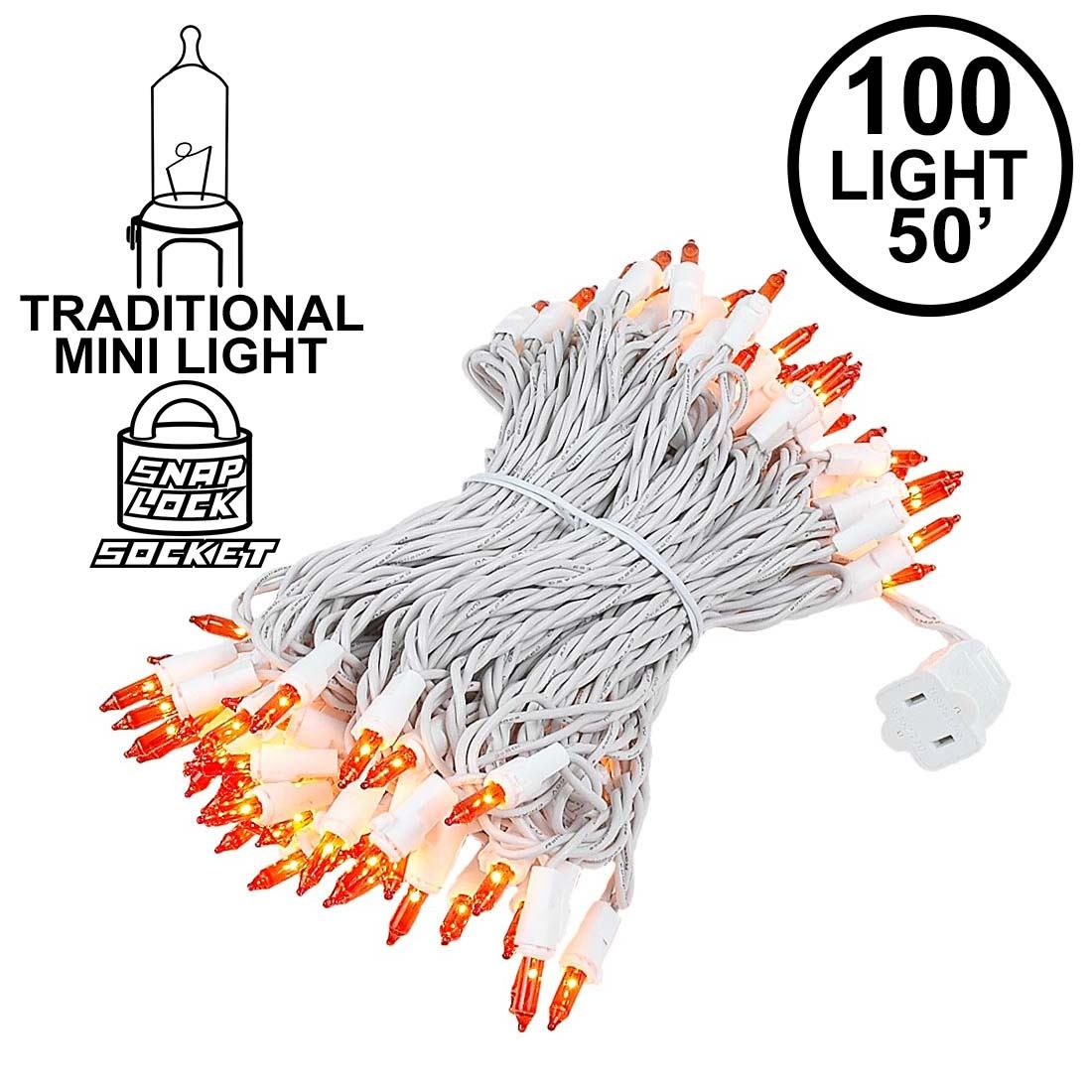 Picture of 100 Light 50' Long White Wire Amber/Orange Christmas Mini Lights