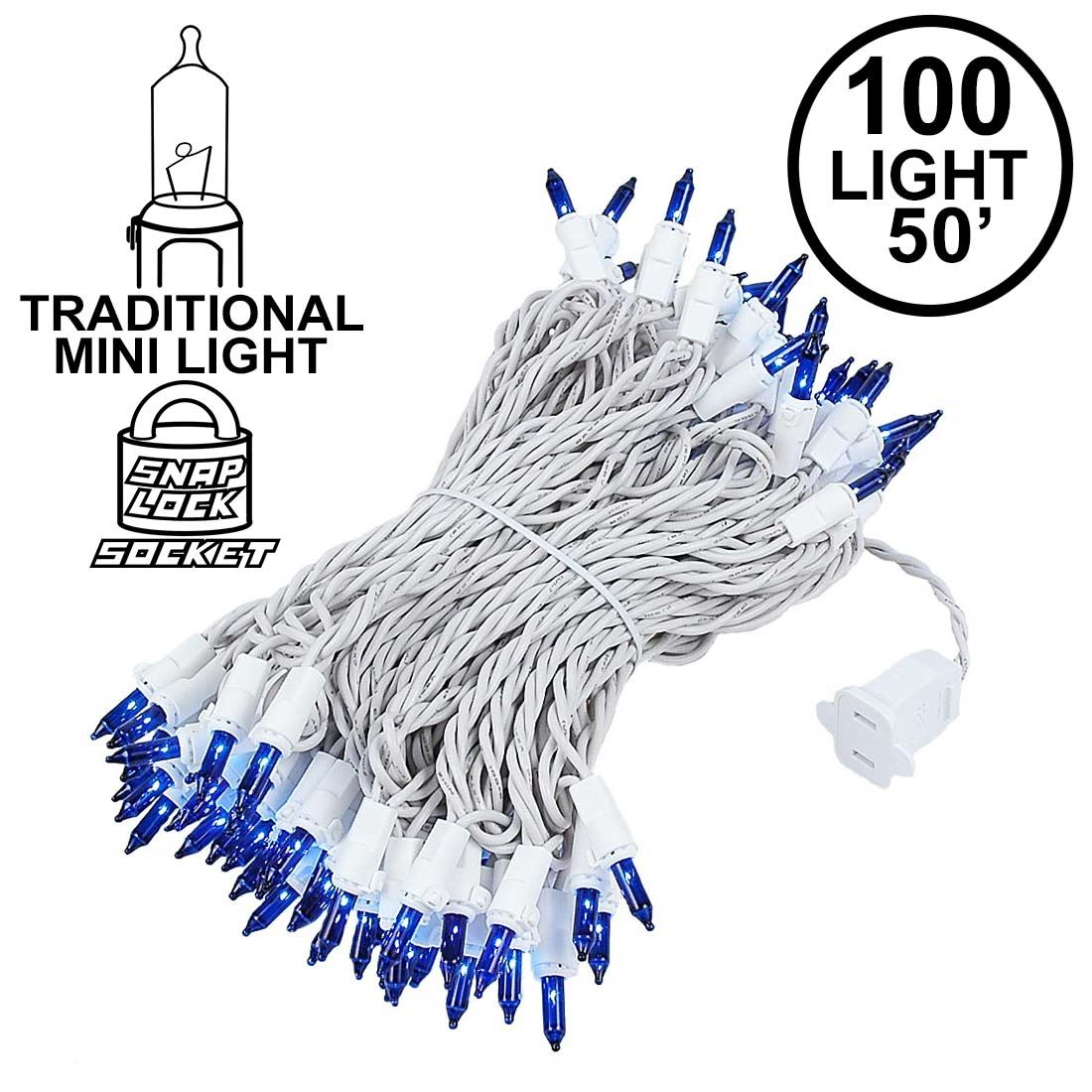 Picture of 100 Light 50' Long White Wire Blue Christmas Mini Lights