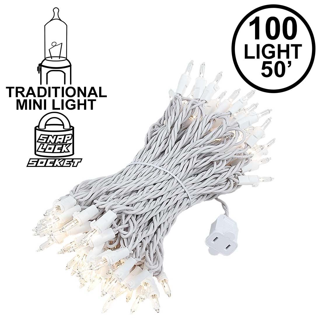 Picture of 100 Light 50' Long White Wire Christmas Mini Lights
