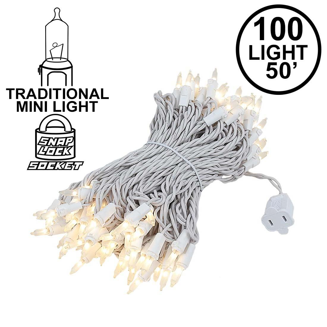 Picture of 100 Light 50' Long White Wire Frosted Christmas Mini Lights
