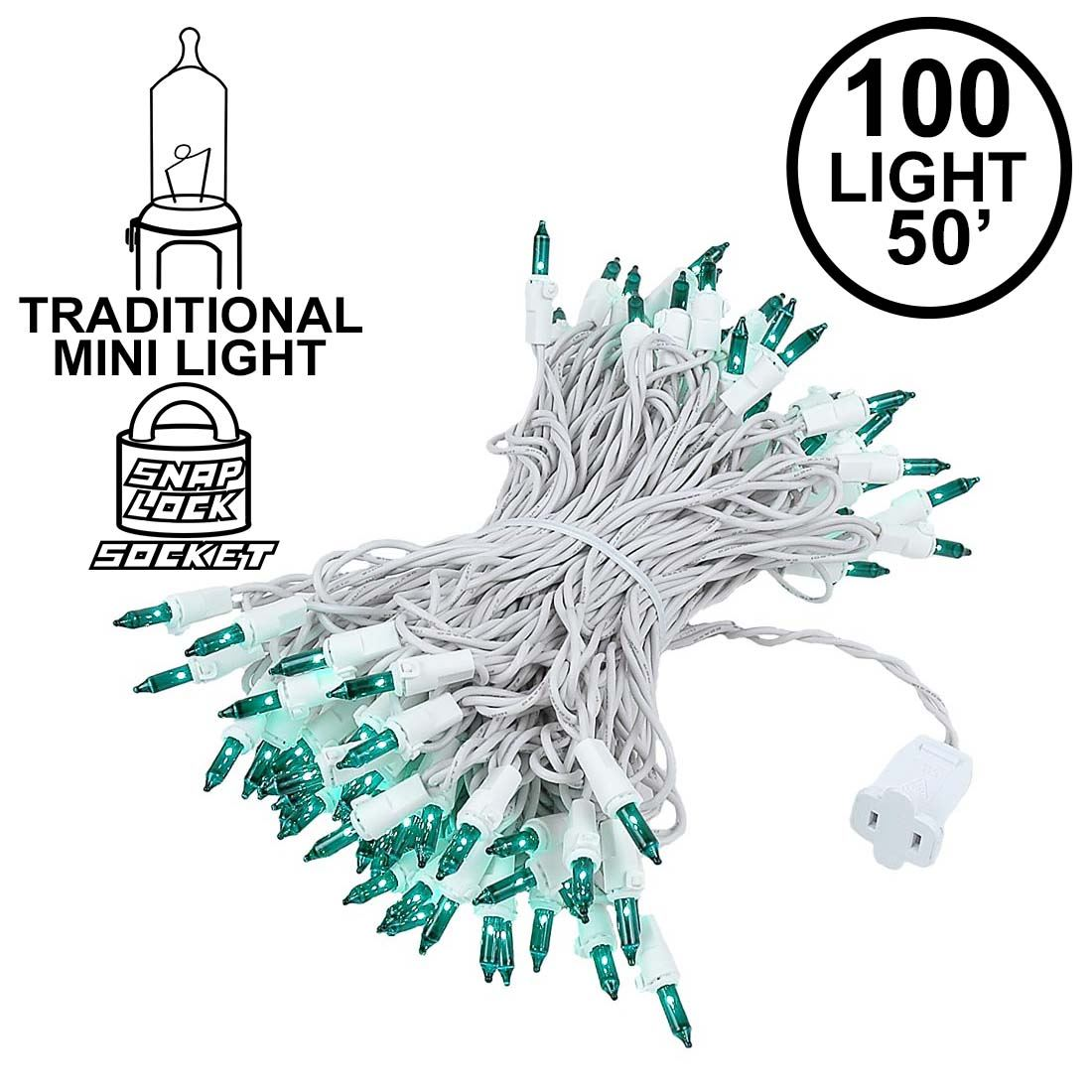 Picture of 100 Light 50' Long White Wire Green Christmas Mini Lights