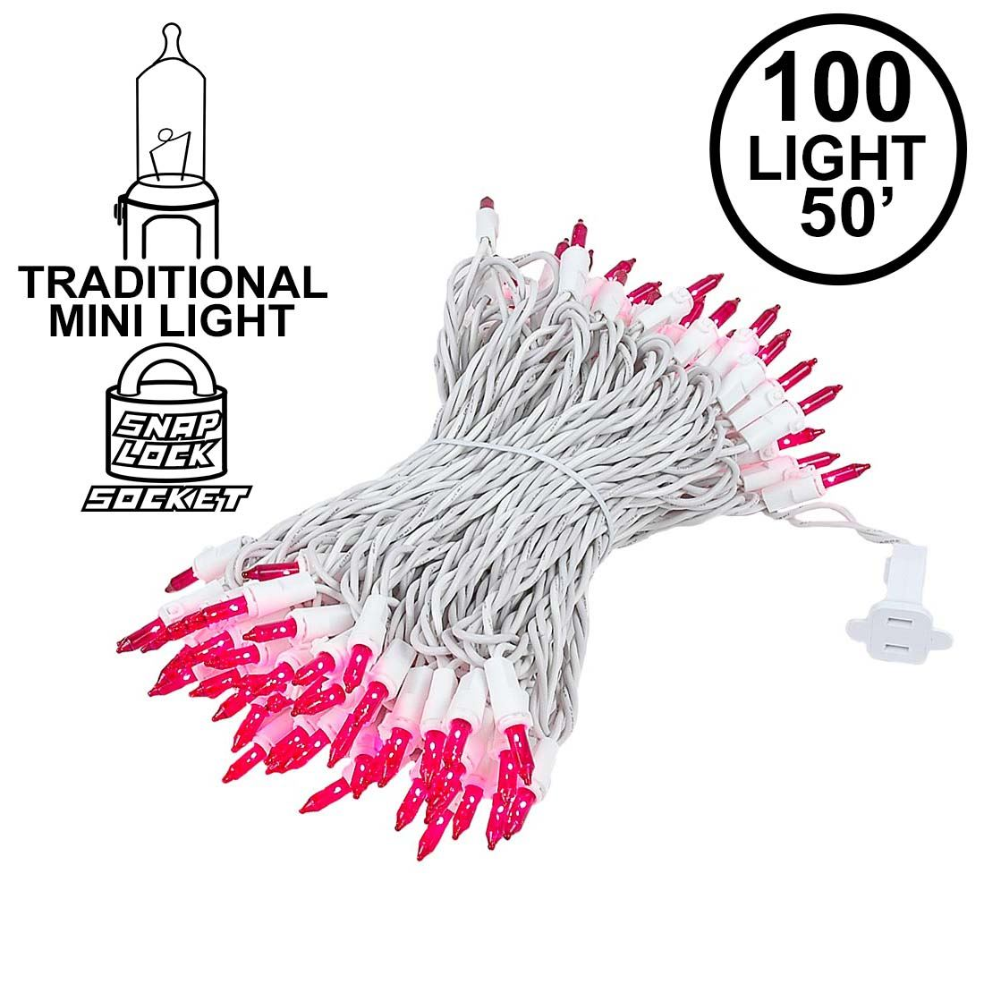 Picture of 100 Light 50' Long White Wire Pink Christmas Mini Lights