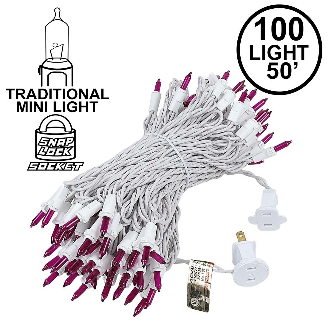 Picture of 100 Light 50' Long White Wire Purple Christmas Mini Lights