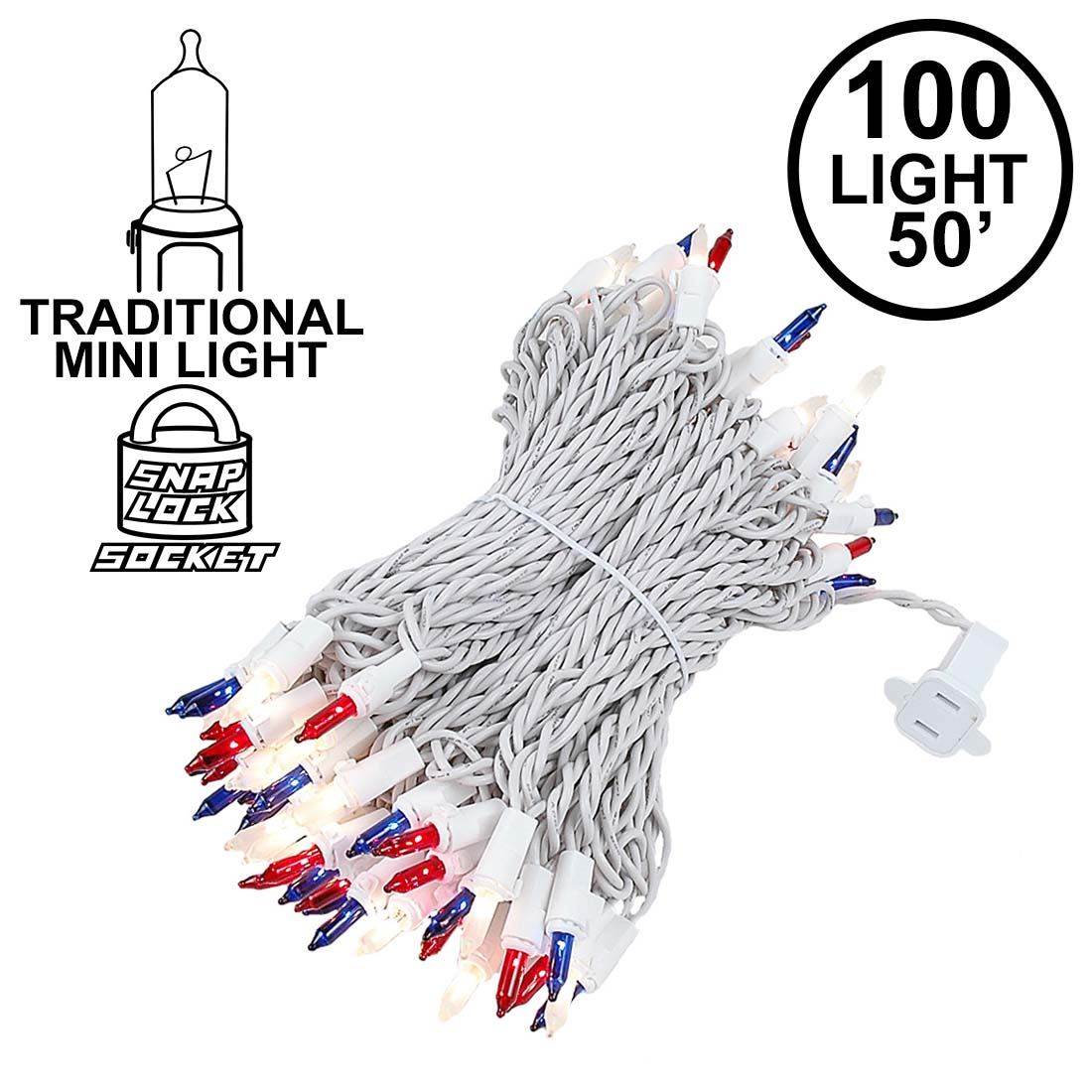 100 light 50 long white wire red white and blue christmas mini lights